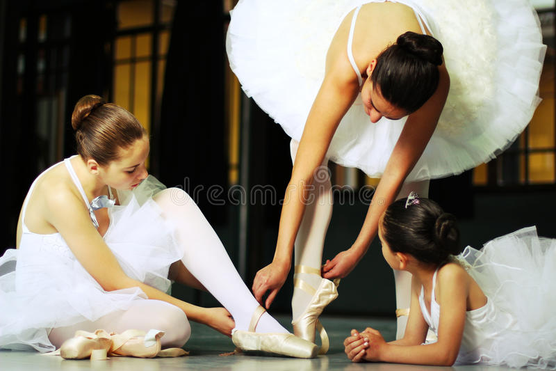 A ballet class. A day at the ballet class, a little girl learns the moves stock photography