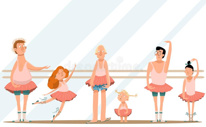 Ballet class/Fun with Dad/Cute little daughters and their young dads in skirts are dancing in ballet studio and smiling royalty free illustration