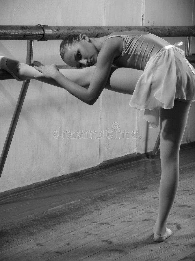 In ballet class-room 3. Little dancer at the lesson in ballet class-room royalty free stock image