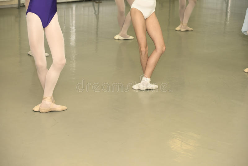 Ballet class. Young girls are in ballet position royalty free stock photo