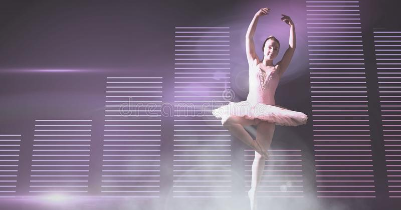 Ballet dancer with bar charts royalty free stock photography