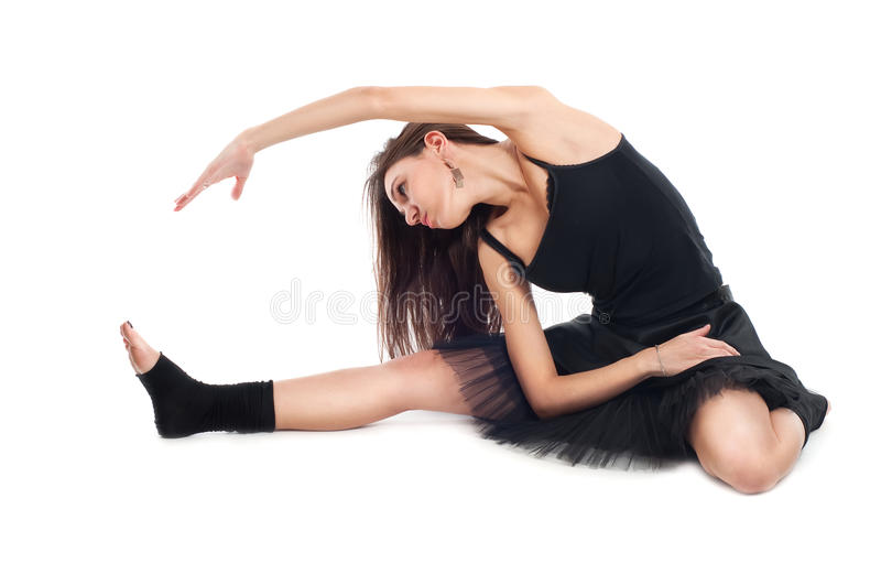 Download Ballet Dancer In Black Dress Doing Exercises Royalty Free Stock Photos - Image: 21871528