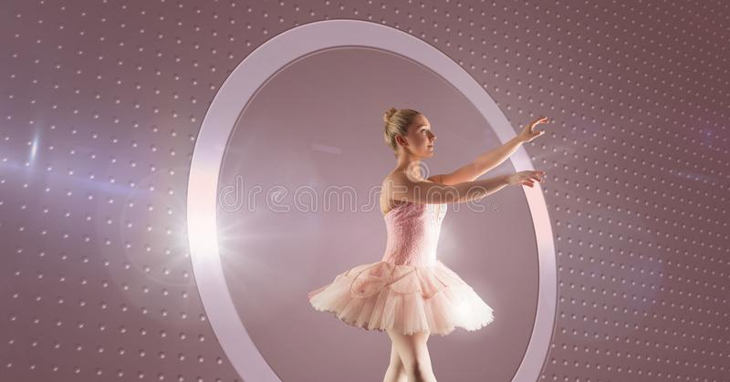 Ballet dancer with circle glow. Digital composite of Ballet dancer with circle glow royalty free stock image