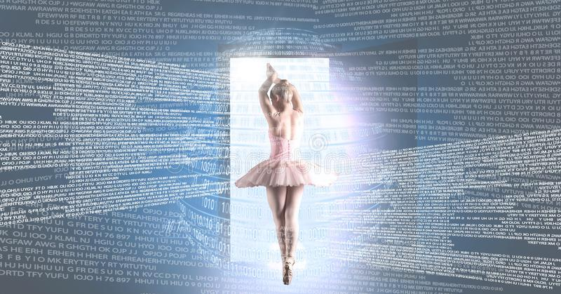 Ballet dancer dancing with digital technology interface and open door light source stock images