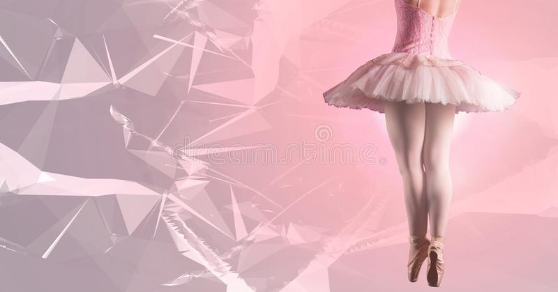 Ballet dancer dancing with pink polygons royalty free stock photo