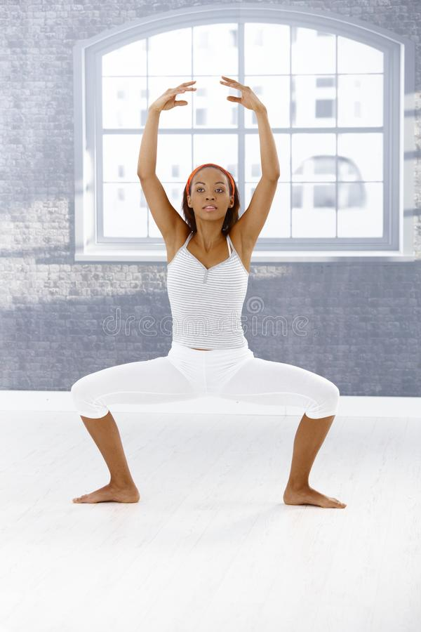 Ballet dancer exercising stock image