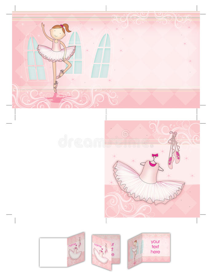 Ballet dancer girl. Four pages square girl baptism invitation layout, both sides printable at size 30cm X 15cm at 300dpi. Cropping marks on document also. There stock illustration