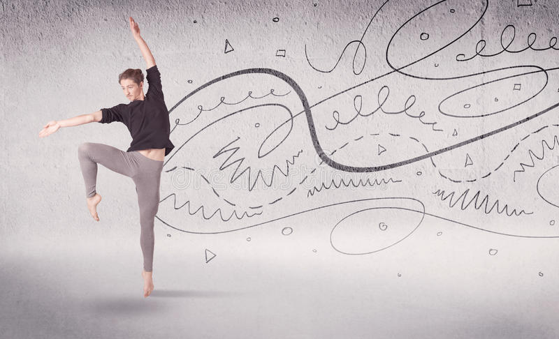 Drawing Lines With Arrows In Photo : Ballet dancer performing art dance with lines and arrows stock