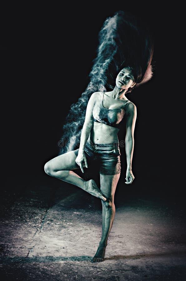 Ballet dancer practicing stock photo