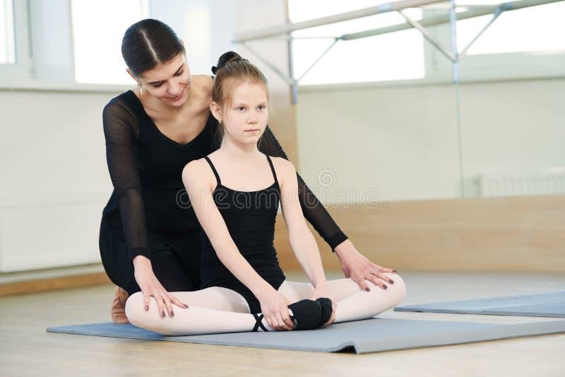 Ballet dancer training little ballerina girl stock image
