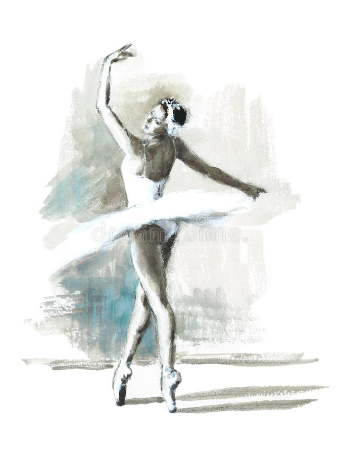 Ballet Dancer Watercolor Illustration Hand Drawn. Hand drawn Watercolor illustration of Ballerina vector illustration