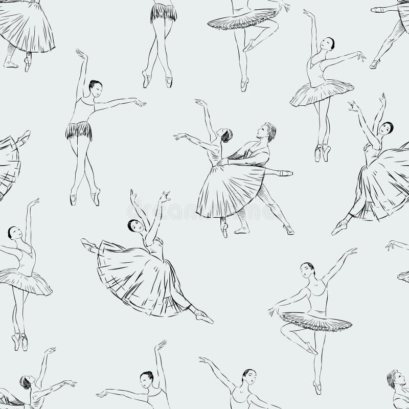 ballet dancers pattern royalty free illustration