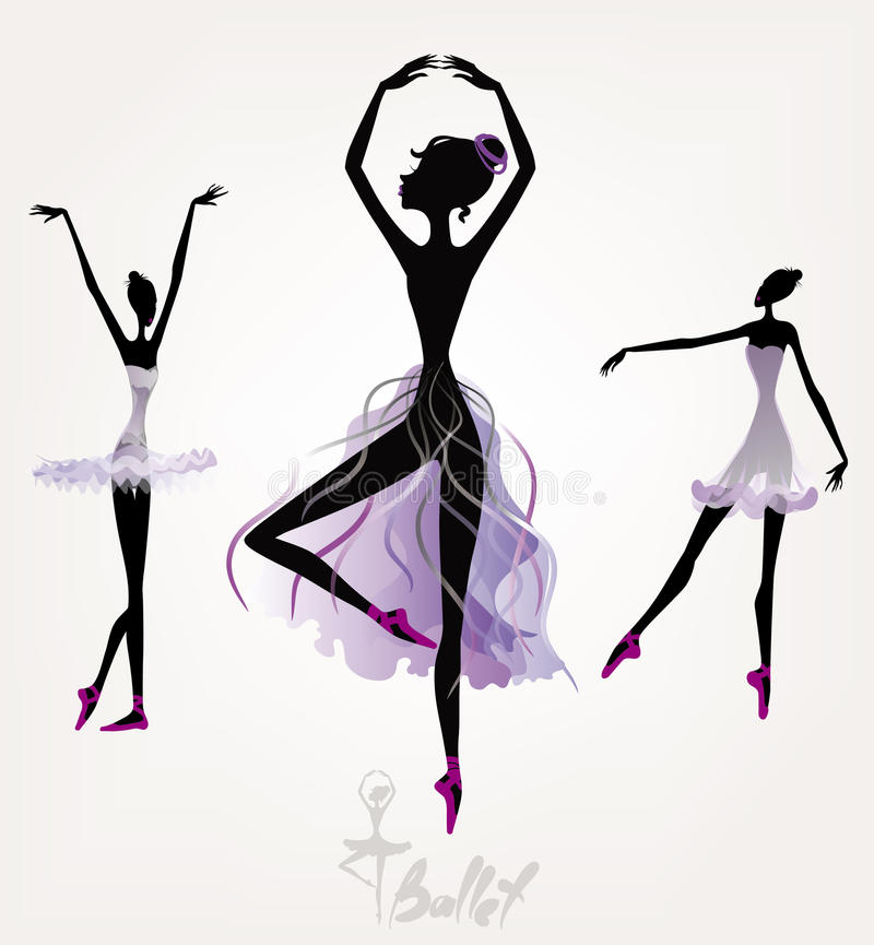 Ballet dancers. Set of silhouettes vector illustration