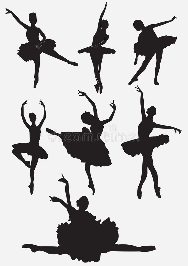 Ballet dancers silhouettes stock photos