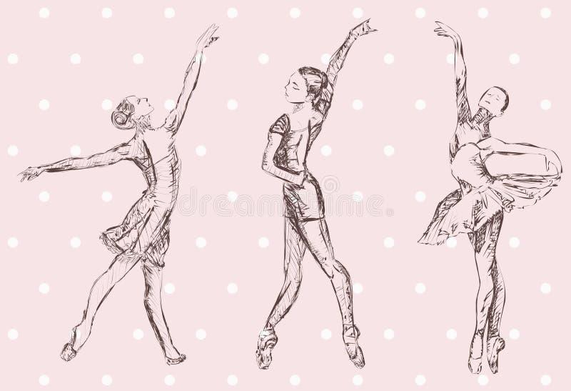 Ballet dancers silhouettes. Vector hand drawn three ballet dancers stock illustration