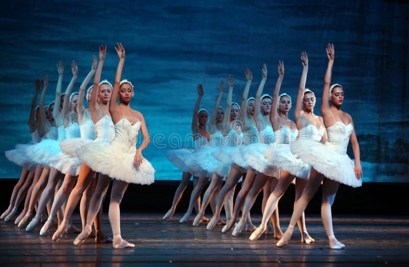 Ballet de lac swan exécuté par le ballet royal russe images libres de droits