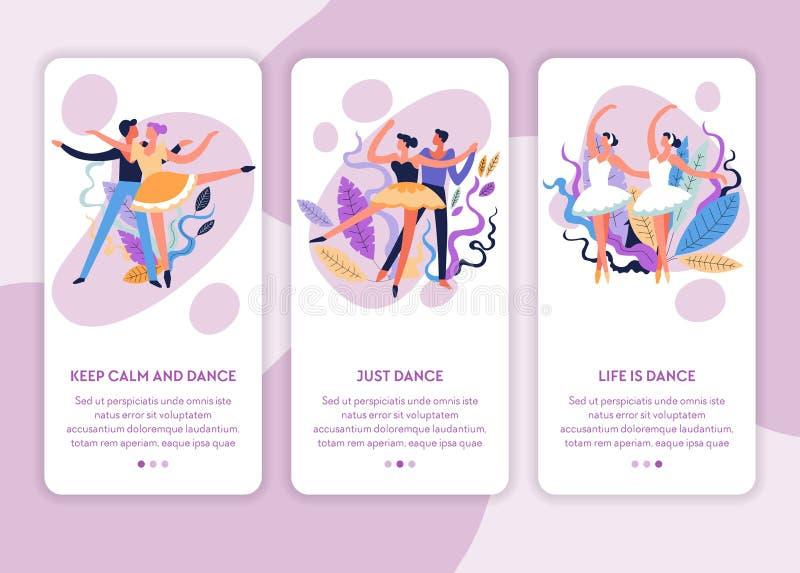 Ballet et danse de salon en ligne de calibre de page Web de classes de danse illustration stock