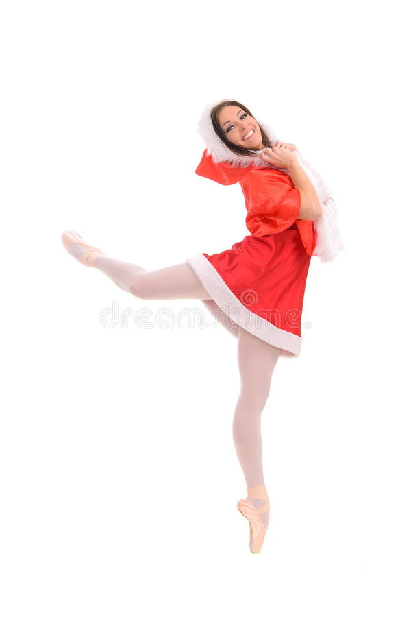 Free Ballet Female Dancer In Red Christmas Style Royalty Free Stock Image - 44988976