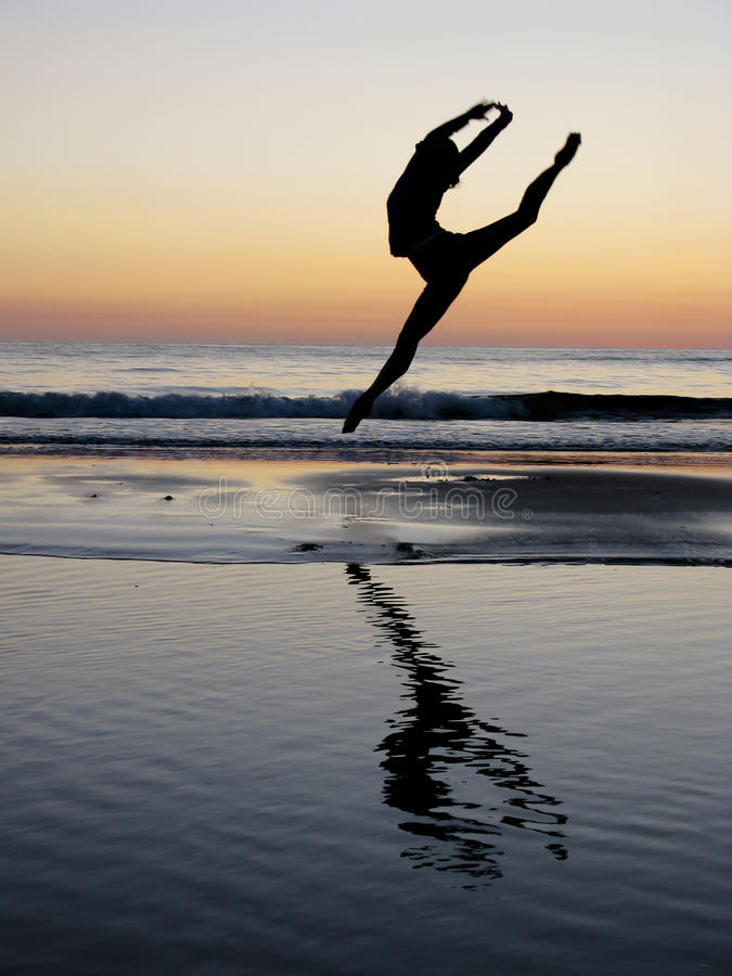 Free Ballet Girl Jump In The Sunset Stock Image - 17332791