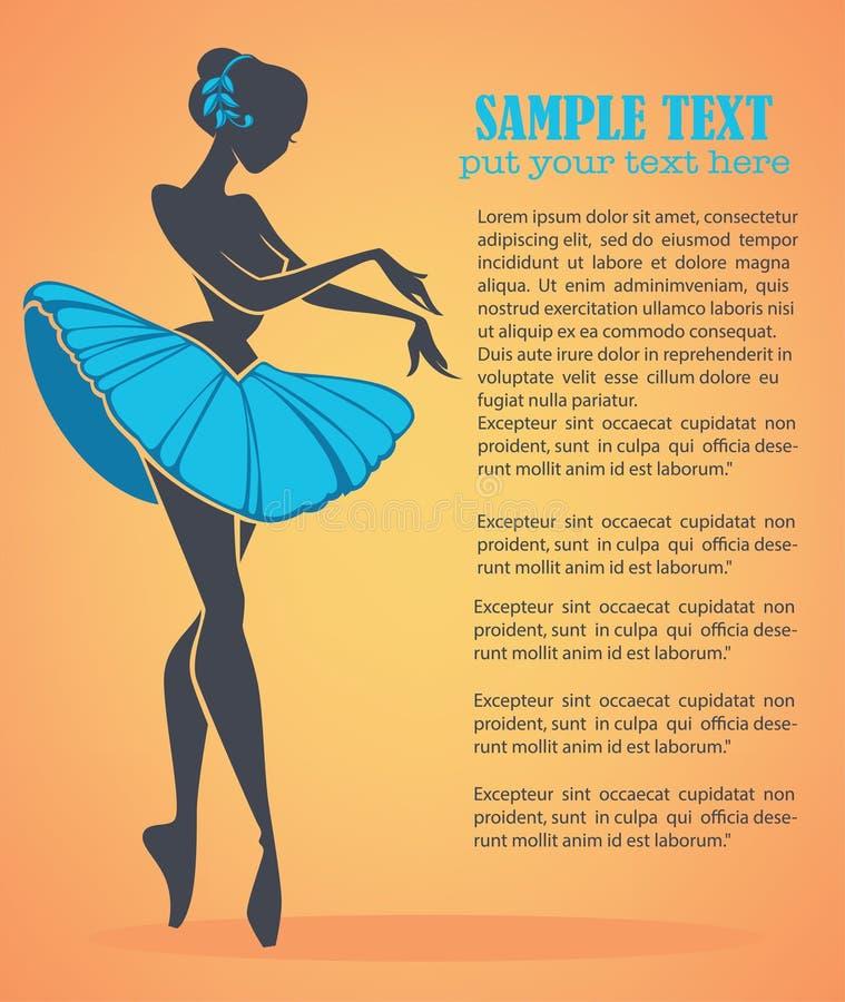 Ballet girl. Silhouette of beauty ballet danser, vector background stock illustration