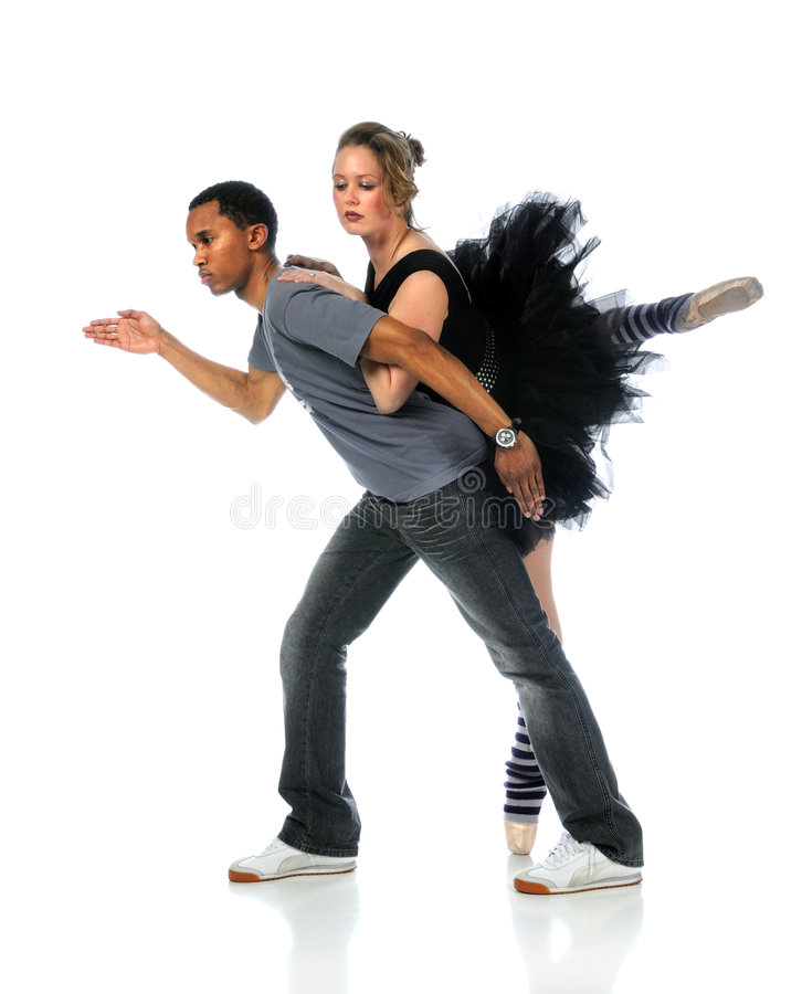 Ballet and Hip Hop Dancers. Performing isolated over white background stock image