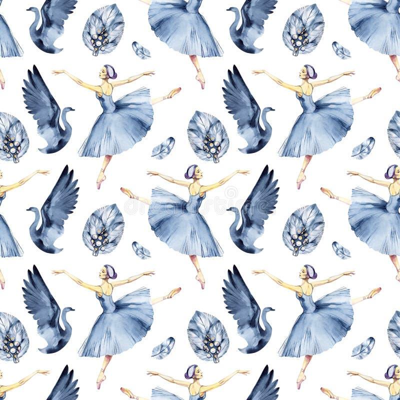 Ballet naadloos patroon met ballerinasymbolen: tutu, pointe, zwaan Leuke achtergrond voor balletschool, dansklasse royalty-vrije stock afbeeldingen