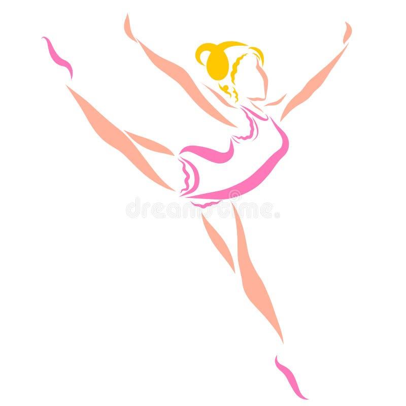 Ballet o gimnasia artística, bosquejo colorido, señora delgada linda ilustración del vector