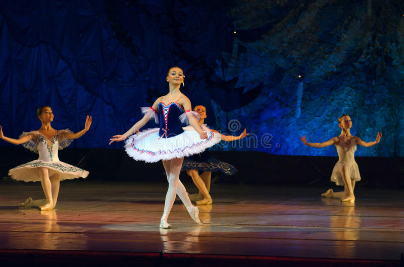 Ballet pearls. DNIPROPETROVSK, UKRAINE - JANUARY 11: Unidentified girls, ages 11-14 years old, perform Ballet pearls at State Opera and Ballet Theatre on January royalty free stock photos