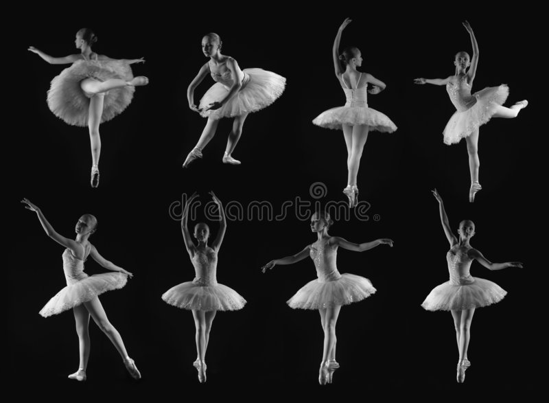Ballet poses. Girl in 8 classical ballet poses