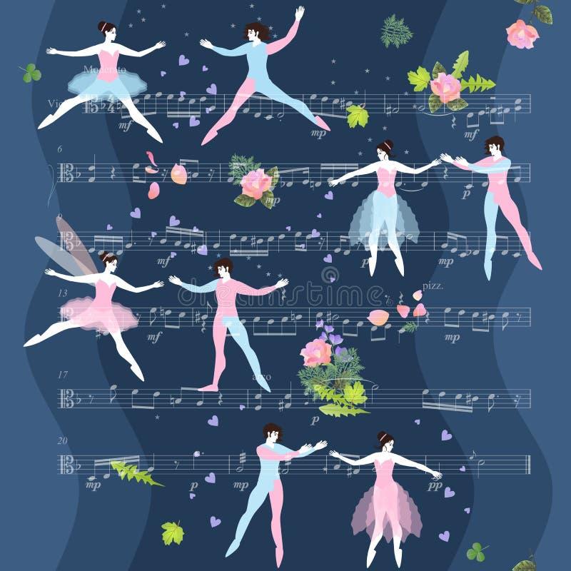 Ballet romántico Pares y flores hermosos de la danza en fondo con las notas musicales Ejemplo de hadas del vector stock de ilustración