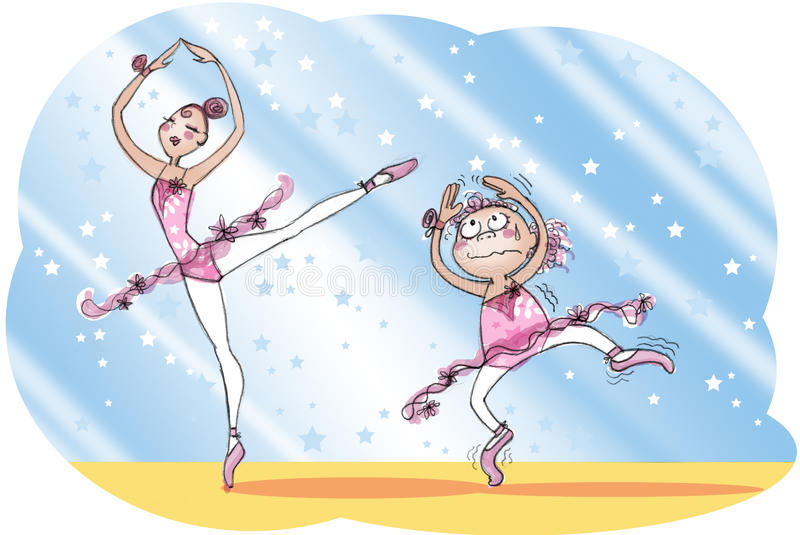 Ballet school. Ballerina teaching ballet moves to a young girl. Humorous illustration