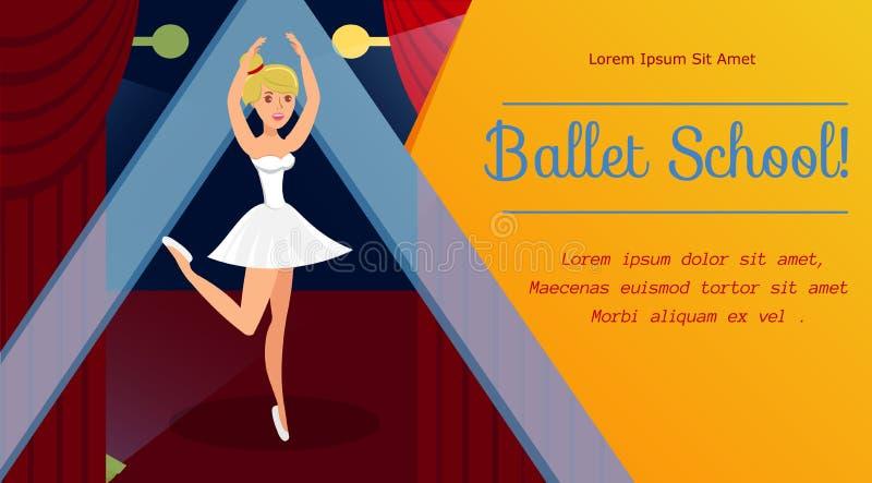 Ballet School, Dancing Classes Web Banner Template stock illustration