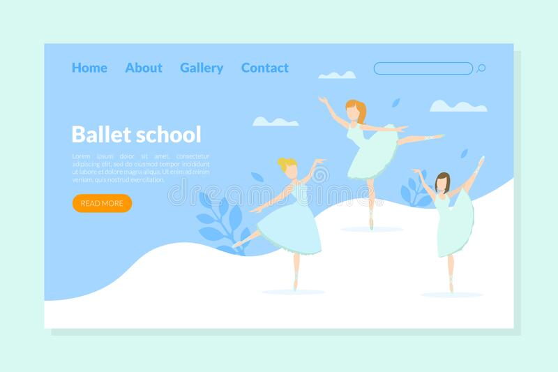Ballet School Landing Page Template, Ballet Studio,Class, Choreography School for Kids Homepage, Website Vector. Illustration, Web Design royalty free illustration