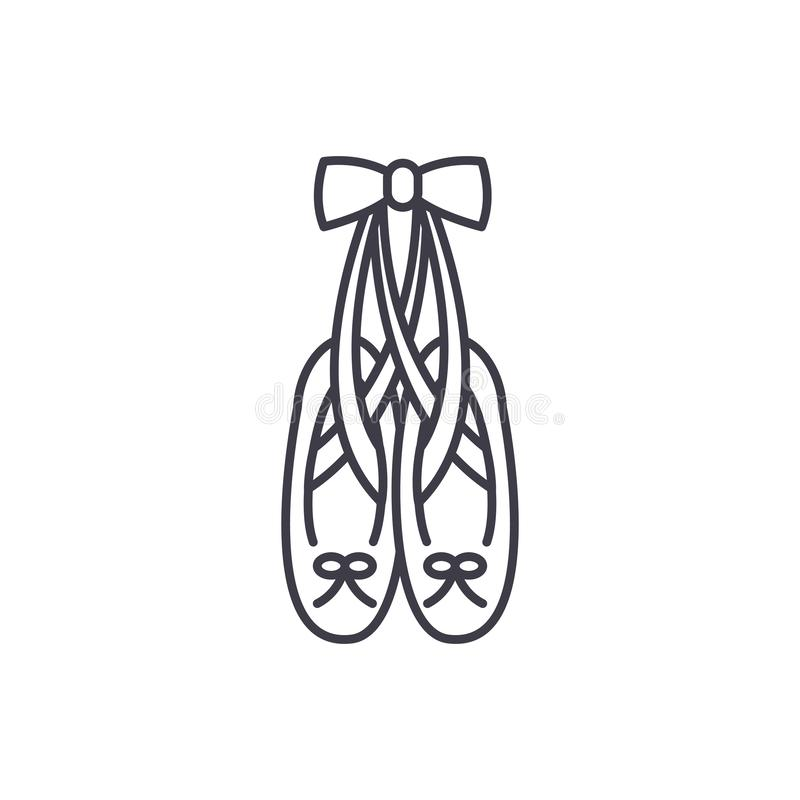 Ballet shoes line icon concept. Ballet shoes vector linear illustration, symbol, sign vector illustration