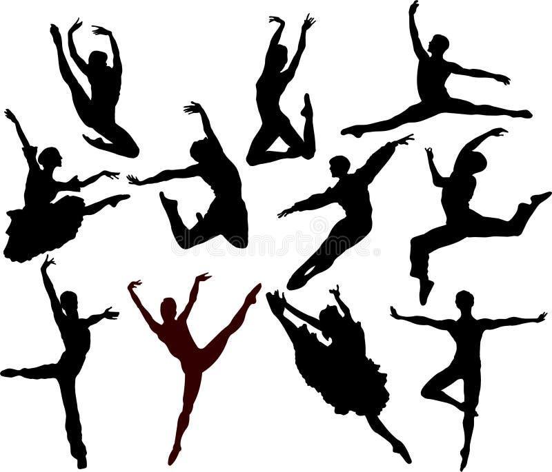 Ballet_silhouette lizenzfreie abbildung