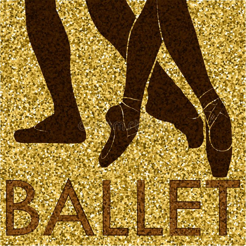 Ballet. Dancing silhouette on a gold background royalty free stock photography
