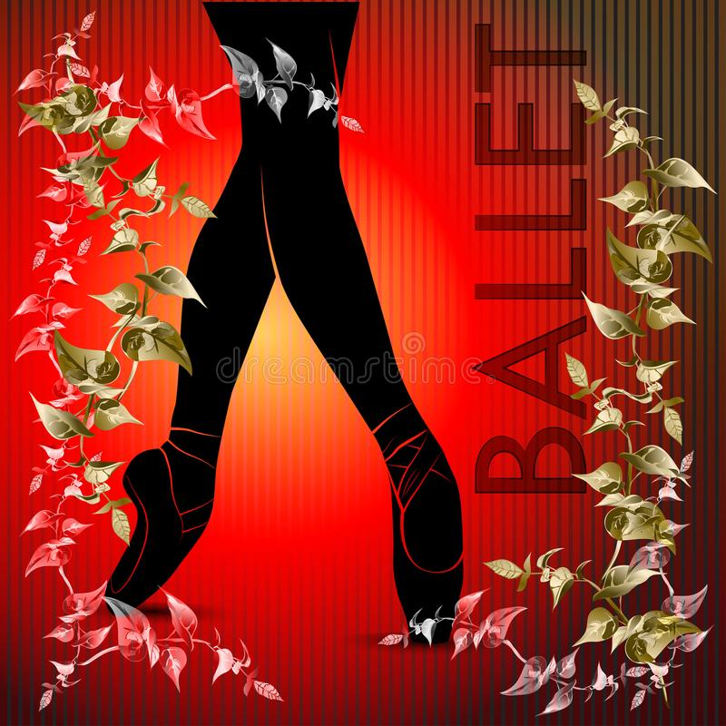 Ballet. Dancing silhouette on a red background stock images