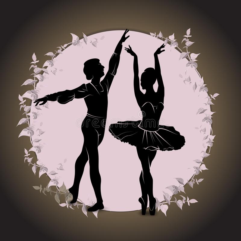 Ballet. Silhouette of feet of dancing people royalty free stock images