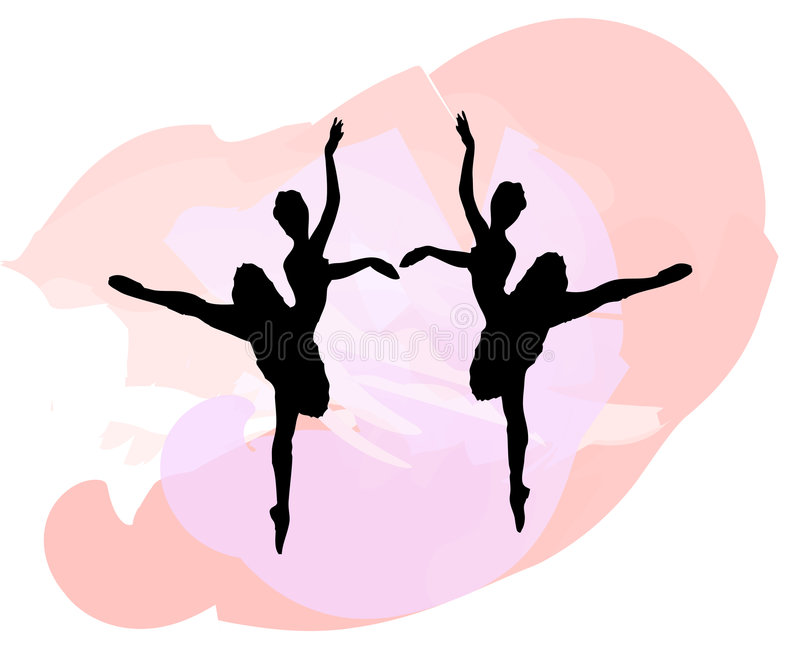 Ballet Silhouettes. Two silhouettes of dancers against a splash of color royalty free illustration
