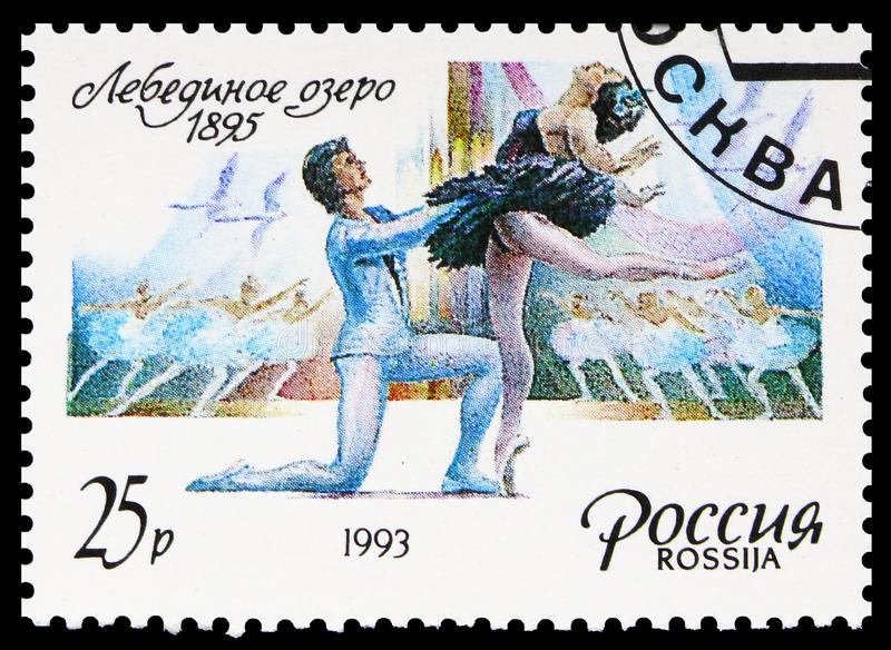 Ballet `Swan Lake`, 1895, Russian Ballet serie, circa 1993. MOSCOW, RUSSIA - AUGUST 10, 2019: Postage stamp printed in Russia shows Ballet `Swan Lake`, 1895 stock photography