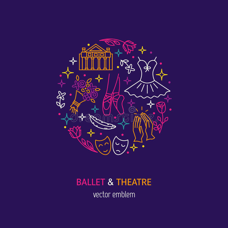 Ballet and theatre logo vector illustration