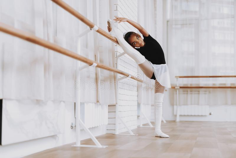 Ballet Training of Young Girl in Balerina Tutu. stock photography