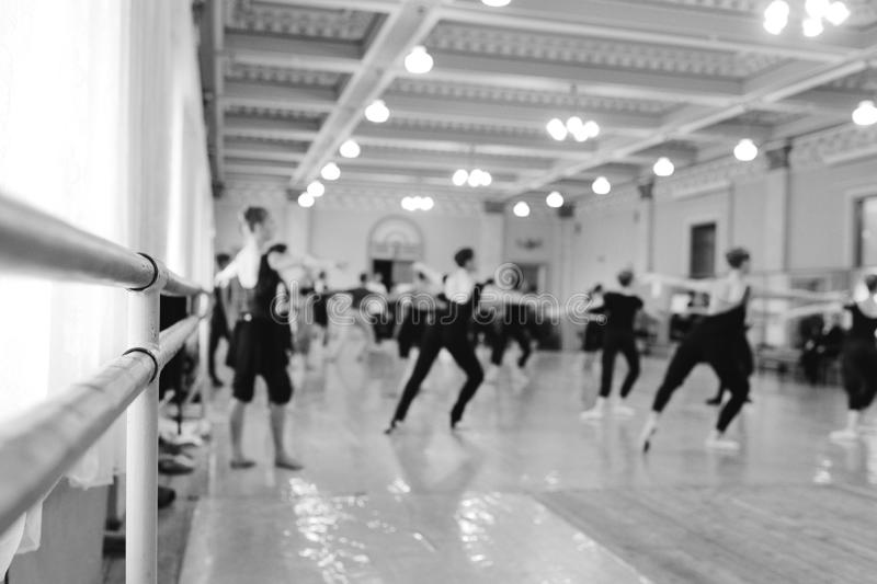 The ballet troupe rehearses in a ballet class royalty free stock photo