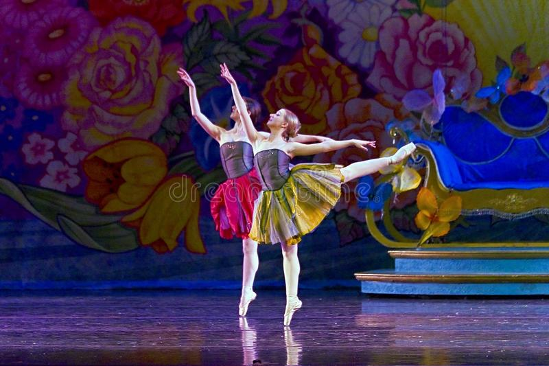 Classical ballet and dance background. Two ballerinas on a stage dancing waltz of the Flowers. Ballet P.Tchaikovsky The Nutcracker. Photo taken during a dress stock photos