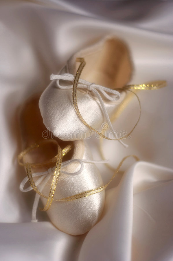 Ballet or wedding shoes stock photo