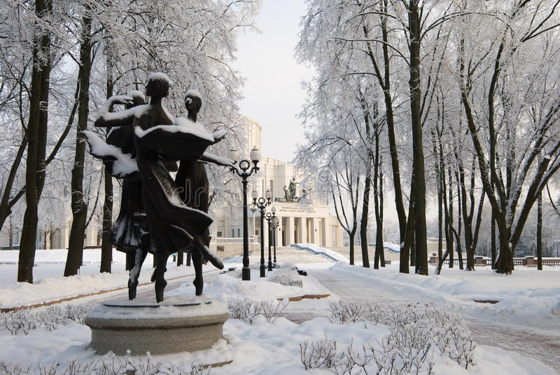 Ballet in the Winter Park royalty free stock photo