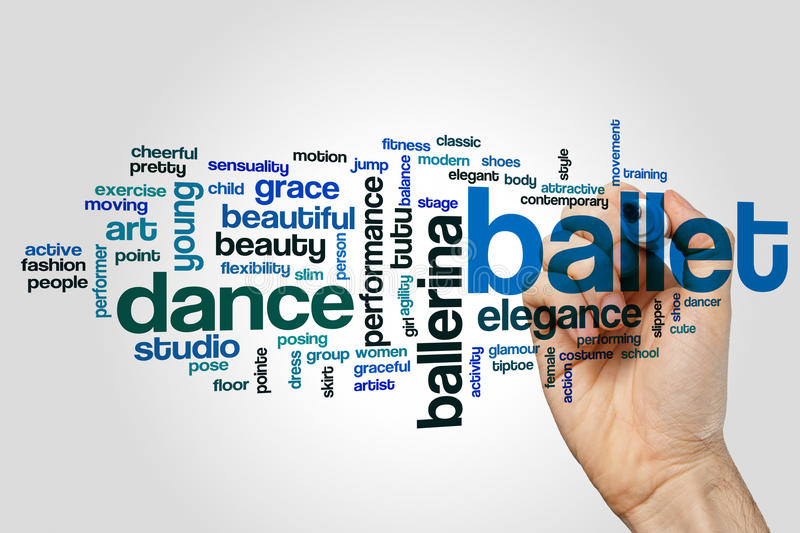 Ballet word cloud. Concept on grey background royalty free stock image