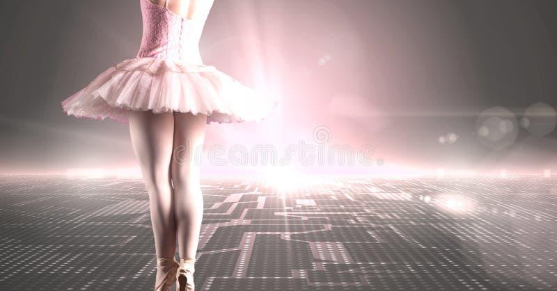 Balletdanser met digitaal technologielandschap en het gloeien licht stock fotografie