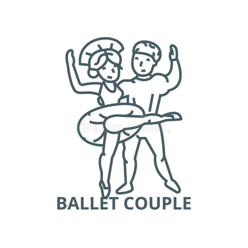 Balletpaar, het dansende man en pictogram van de vrouwenlijn, vector Balletpaar, het dansende man en teken van het vrouwenoverzic stock illustratie