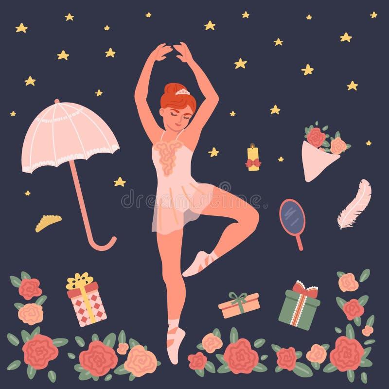 Balletreeks Ballerina die op een donkere achtergrond dansen Vectorillustratie in beeldverhaalstijl vector illustratie